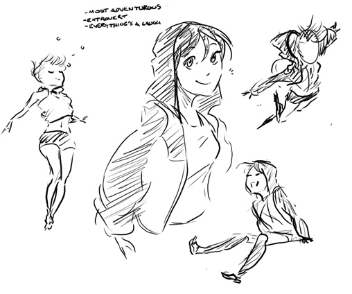 Sketch Natural Light Girl Character Sheet