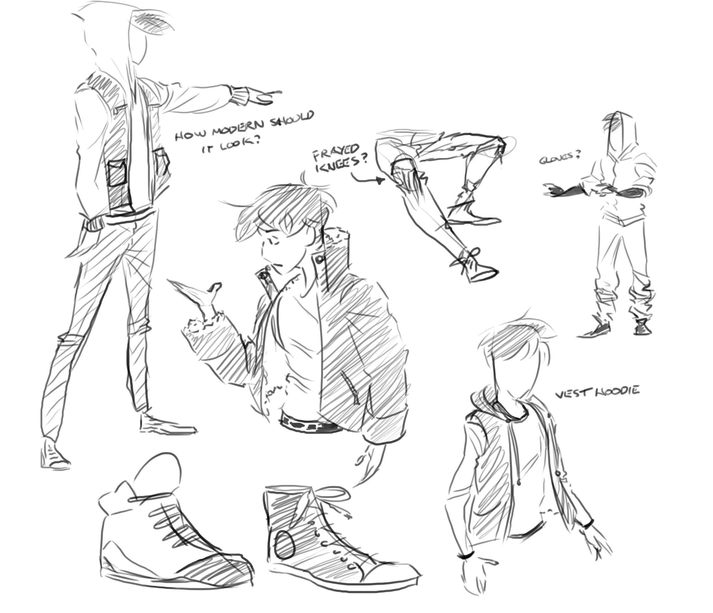 Sketch Natural Light Boy Character Sheet